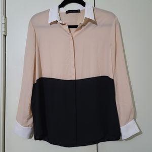 Zara Colorblock Button Down Shirt